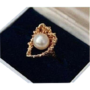 SALE 14K Brutalist Reef with Cultured Pearl Solid Yellow Gold Ring Size 5.5