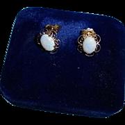 SALE 14K Fiery Opal Pierced Earrings