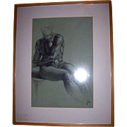 SALE Listed Artist Richard Combes ROI Original 1993 Michaelangelo Nude Study Charcoal on Paper