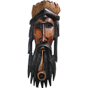 Large Carved Wood Sculpture Folk Art Rastafarian Jamaica African Bob Marley VTG