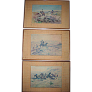 SOLD Reserved for J**** Rare Trio 1940s C.M. Russell Litho Prints Bamboo Matting Framed Manila