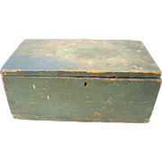 Antique Old Pine Wood Document Candle Box With Paint