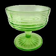SALE Vintage Green Footed Glass Sherbet Dessert Cups