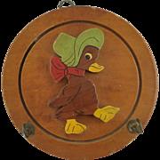 Adorable Duck Bird Wood Pot Holder Plaque