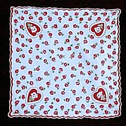 Valentine Red Scalloped Edge with Flowers Handkerchief