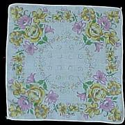 Pink, Yellow and Green Flowers Handkerchief