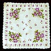 Purple Roses on White Handkerchief Hanky
