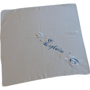 Sylvia Blue Satin Stitch Embroidered White Handkerchief with Rose