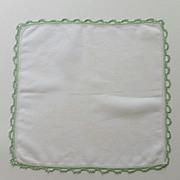 Green Tatted Edges on White Handkerchief Hanky