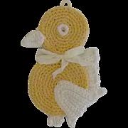 Vintage Crochet Yellow Bird Pot Holder