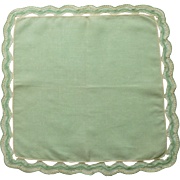 Tatted Green and White Edged Green Linen Handkerchief Hanky