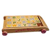 SALE Vintage Whimsie Building Blocks and Wagon