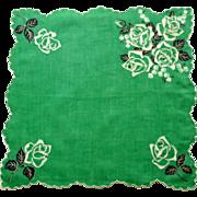 Bright Green White Roses Scalloped Edge Handkerchief
