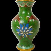 SALE Green Floral Oriental Miniature Cloisonne Brass Enamel Small Vase Urn