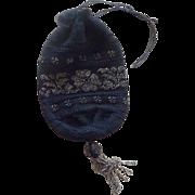 Black Draw Sting Silver Metal Beads Hand Bag Purse Reticule