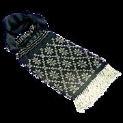 Black Draw String Silver Metal Beads Handbag Purse Reticule
