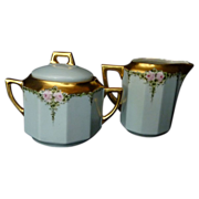 SALE C.  Tielsch Germany Hand Painted Cream Pitcher and Sugar Bowl