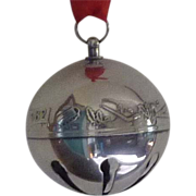 SALE 1982 Silver Plate Annual Sleigh Bell Christmas Ornament
