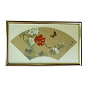 Asian Oriental Print on Silk Framed Flowers and Butterfly