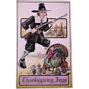 Thanksgiving Pilgrim and Turkey Postcard