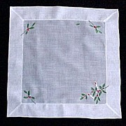 SOLD White Cotton Christmas Holly and Candles Handkerchief Hanky - Red Tag Sale Item