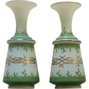 SALE Set of Asian Oriental Green and Gold Vases