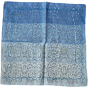 Shades of Blue Floral Urns Handkerchief Hanky