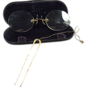 SALE Pince Nez Gold Filled Eye Glasses with Hair Comb Attachment