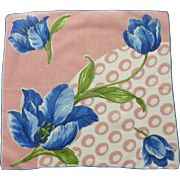 Floral Flowers Blue Tulips on Pink Handkerchief Hanky
