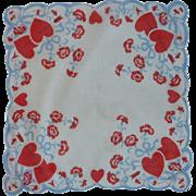 Flowers and Hearts Valentine Handkerchief