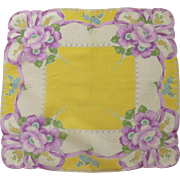 Bright Yellow  & Purple Floral Handkerchief