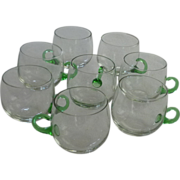SOLD 8 Hand Blown Green Handled Punch Cup Set