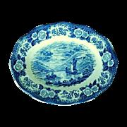 SALE Blue Oval Serving Platter Royal Warwick Lochs of Scotland