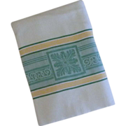 SOLD White Damask Tablecloth with Green and Yellow Design