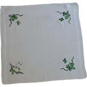 Green Bells on White Christmas Handkerchief