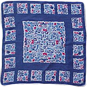 SOLD Red, White and Dutch Blue Tulip Handkerchief