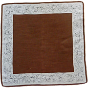 Brown Floral Roses Border Handkerchief