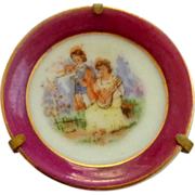 SALE Miniature China Plate with Metal Display Holder