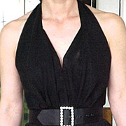 Original Louisa Nevins Halter Top Chiffon Black Dress