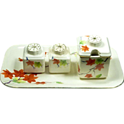 SALE Hand Painted Set Autumn Leaf  / Leaves Condiment Japan