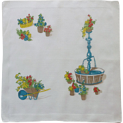Gardener Wheelbarrow and Plants Handkerchief Hanky