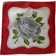 Beautiful Linen Gray Rose Red Border Handkerchief