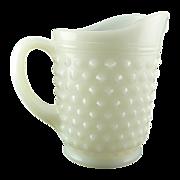 SALE White Vintage Small Juice Pitcher Hobnail Milk Glass