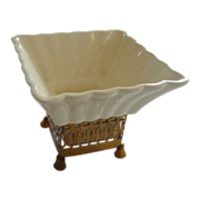 Mid Century White Ceramic Planter with Stand