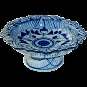 Small Miniature Pedestal Platter Faux Delft Blue
