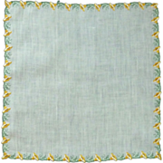 White Linen  Handkerchief with Yellow Trumpet Flower Border