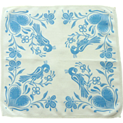 Blue Partridge Hen with Heart Handkerchief Hanky