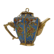 Miniature Blue with Love Birds Cloisonné Teapot / Coffeepot with Top