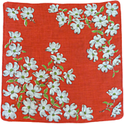 SOLD Red Handkerchief with White Apple Blossoms