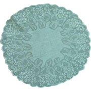 Round Light Aqua Blue with Bows and Flower Handkerchief